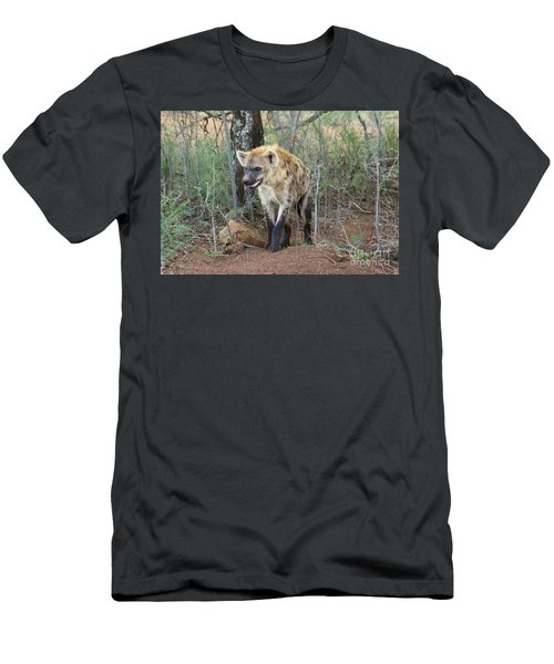 Men's T-Shirt (Slim Fit) featuring the photograph Spotted Hyena by Myrna Bradshaw