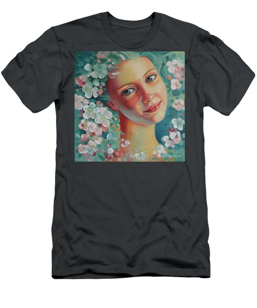 Men's T-Shirt (Slim Fit) featuring the painting Spring B by Elena Oleniuc