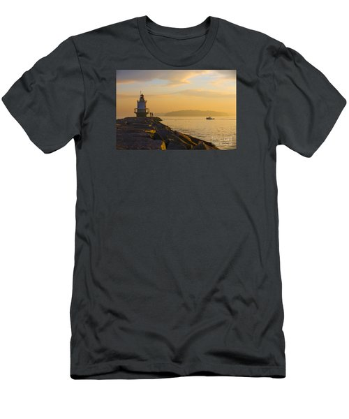 Spring Point Lighthouse At Dawn. Men's T-Shirt (Slim Fit) by Diane Diederich