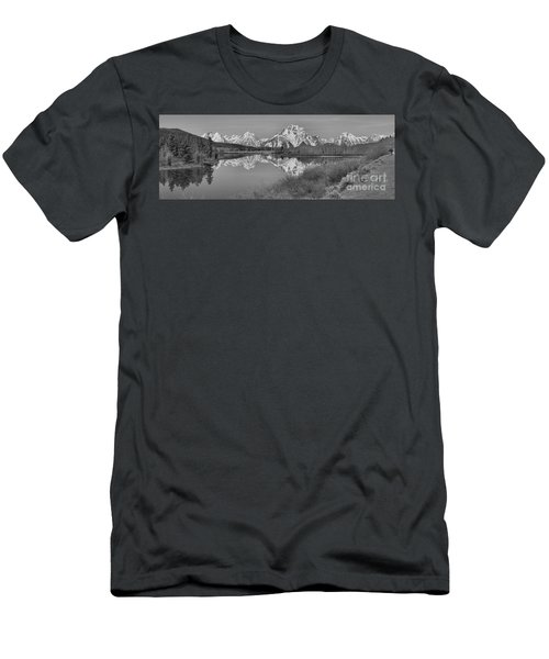 Spring Reflections At Oxbow Bend Black And White Men's T-Shirt (Slim Fit) by Adam Jewell