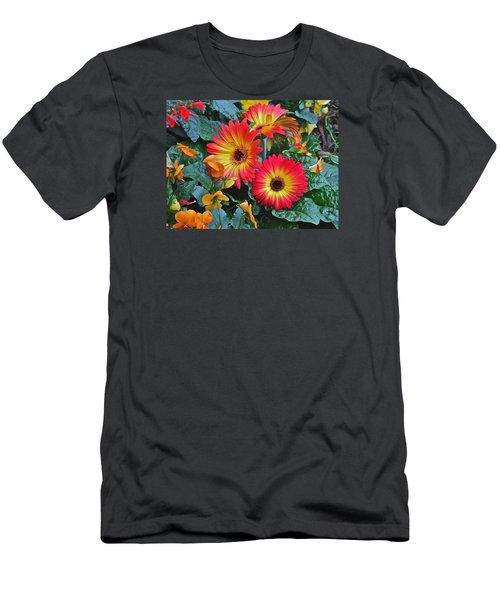 Spring Show 14 Gerbera Daisy 1 Men's T-Shirt (Slim Fit) by Janis Nussbaum Senungetuk