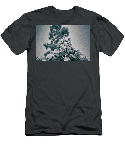 Spring Snowstorm On The Treetops Men's T-Shirt (Slim Fit) by Jason Coward