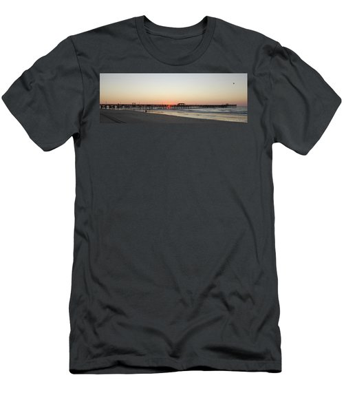 Springmaid Pier Sunrise Men's T-Shirt (Slim Fit) by Gordon Mooneyhan
