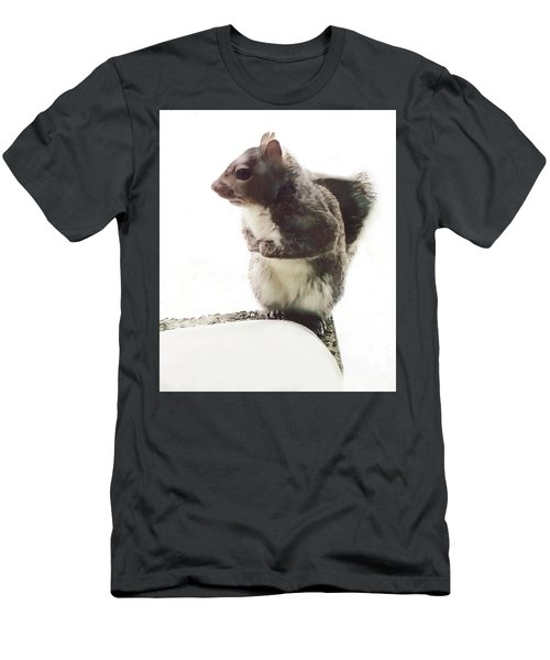 Men's T-Shirt (Athletic Fit) featuring the photograph Squirrel In The Snow by Roger Bester