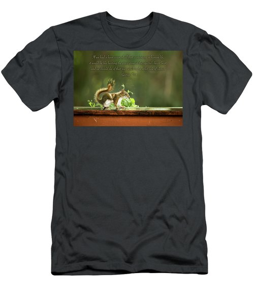 Men's T-Shirt (Athletic Fit) featuring the photograph Squirrel's Heart Beat-george Eliot by Onyonet  Photo Studios