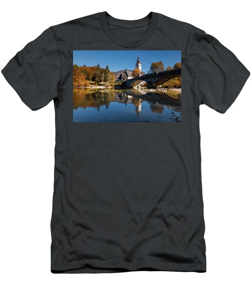 Men's T-Shirt (Athletic Fit) featuring the photograph St. John The Baptist On The Lake Bohinj by Davor Zerjav