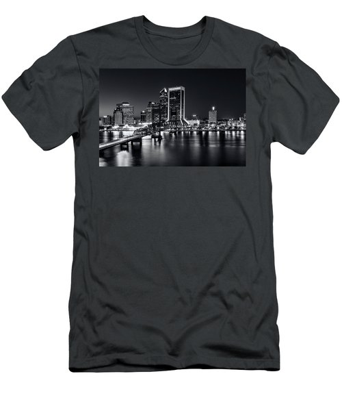 St Johns River Skyline By Night, Jacksonville, Florida In Black And White Men's T-Shirt (Athletic Fit)