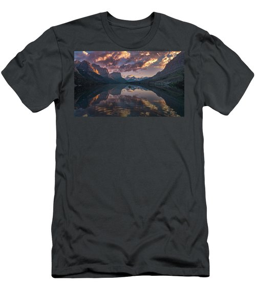 St Mary Lake At Dusk Panorama Men's T-Shirt (Athletic Fit)