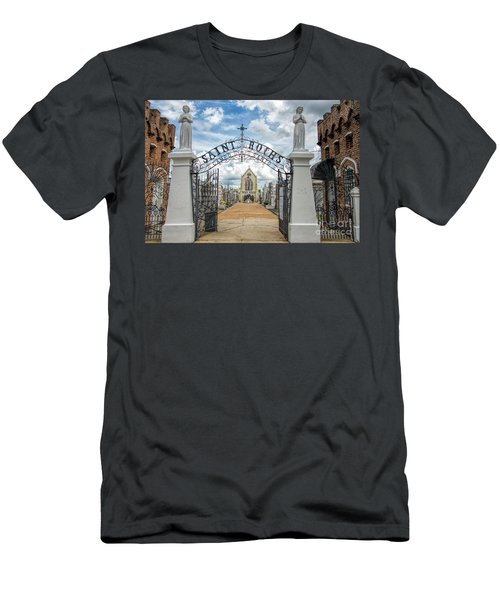 Men's T-Shirt (Slim Fit) featuring the photograph St. Roch's Cemetery In New Orleans, Louisiana by Bonnie Barry