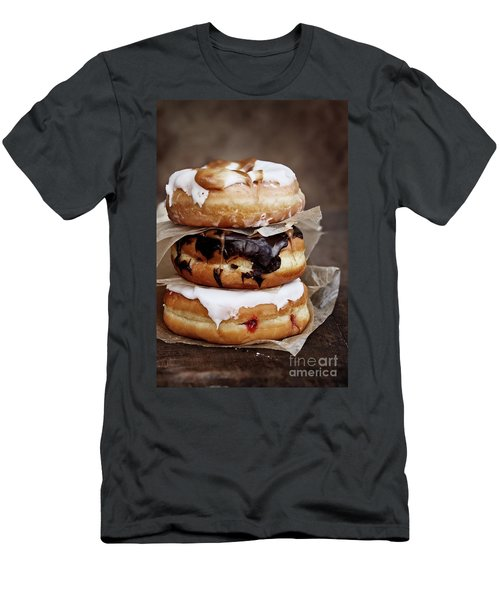 Stacked Donuts Men's T-Shirt (Slim Fit) by Stephanie Frey