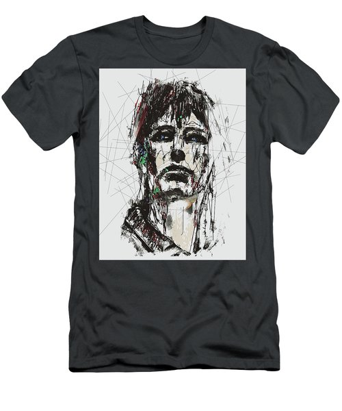 Staggered Abstract Portrait Men's T-Shirt (Slim Fit) by Galen Valle