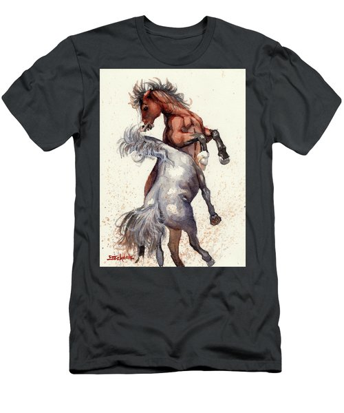 Men's T-Shirt (Slim Fit) featuring the painting Stallion Showdown by Margaret Stockdale