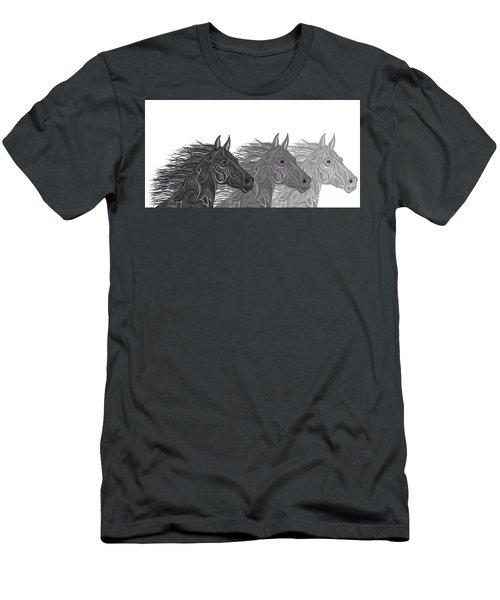 Men's T-Shirt (Slim Fit) featuring the drawing Stallions Shades by Nick Gustafson