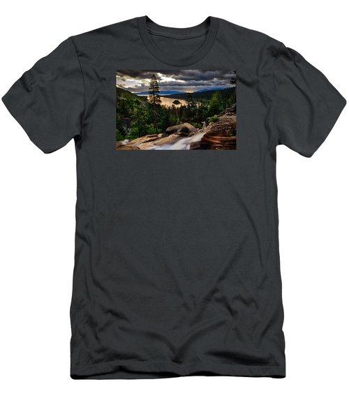 Standing At Eagle Falls Men's T-Shirt (Slim Fit) by Renee Sullivan