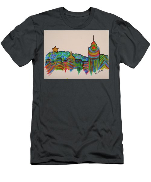 Men's T-Shirt (Athletic Fit) featuring the painting Star City Play by Kendall Kessler