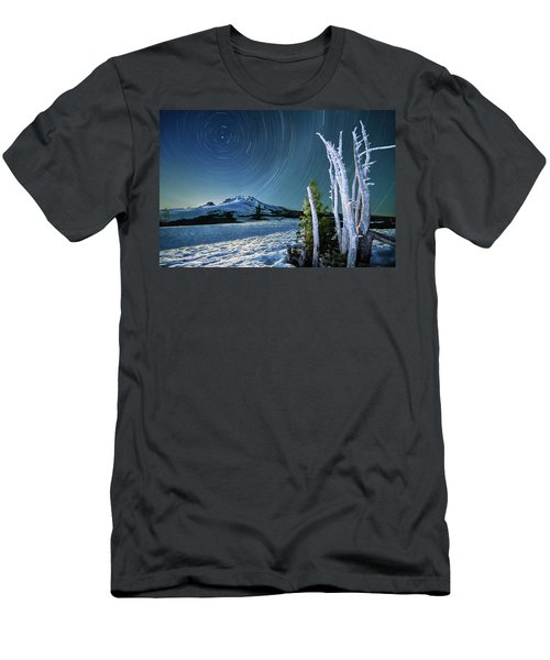 Men's T-Shirt (Slim Fit) featuring the photograph Star Trails Over Mt. Hood by William Lee