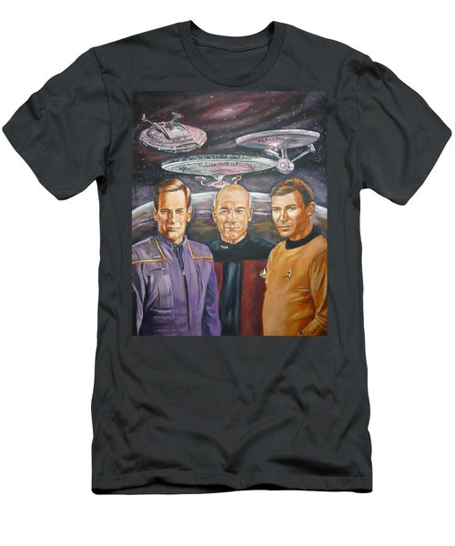 Star Trek Tribute Enterprise Captains Men's T-Shirt (Athletic Fit)