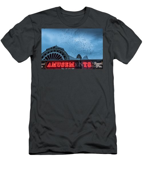 Starlings Over Aberystwyth Royal Pier Men's T-Shirt (Athletic Fit)