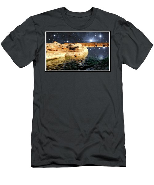 Starry Night Fantasy, Lake Powell, Arizona Men's T-Shirt (Slim Fit) by A Gurmankin NASA STSci