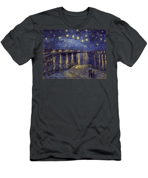 Men's T-Shirt (Athletic Fit) featuring the painting Starry Night Over The Rhone by Van Gogh