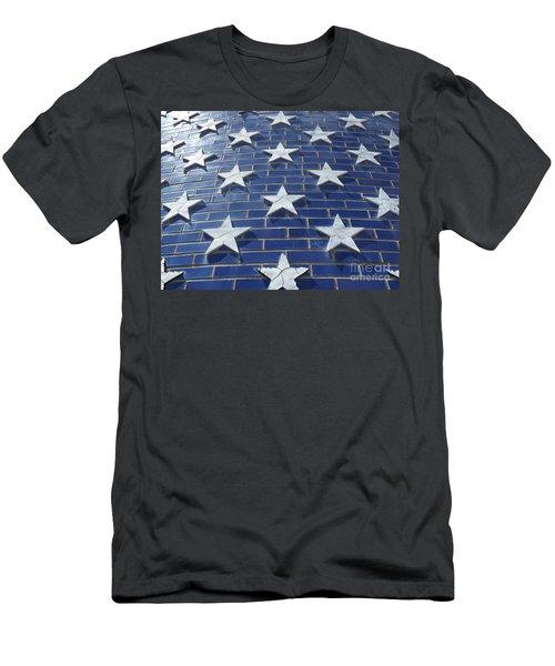 Stars On Blue Brick Men's T-Shirt (Slim Fit) by Erick Schmidt