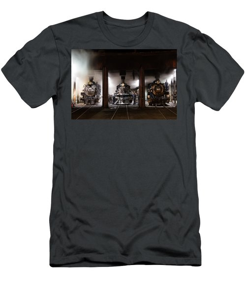 Men's T-Shirt (Slim Fit) featuring the photograph Steam Locomotives In The Roundhouse Of The Durango And Silverton Narrow Gauge Railroad In Durango by Carol M Highsmith