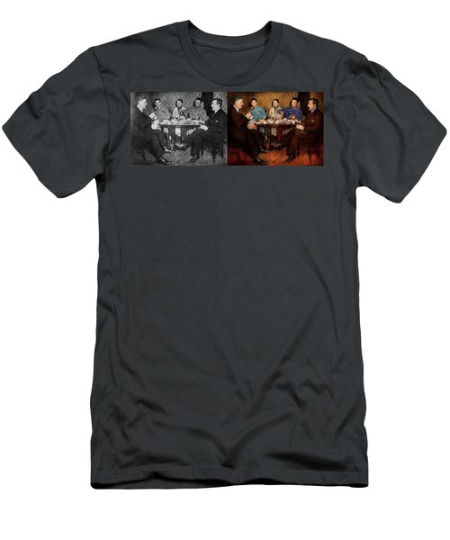 Men's T-Shirt (Athletic Fit) featuring the photograph Steampunk - Bionic Three Having Tea 1917 - Side By Side by Mike Savad