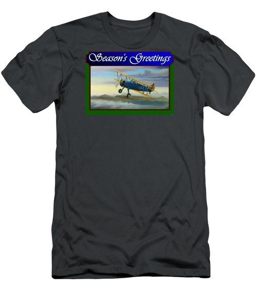 Men's T-Shirt (Slim Fit) featuring the painting Stearman Christmas Card by Stuart Swartz