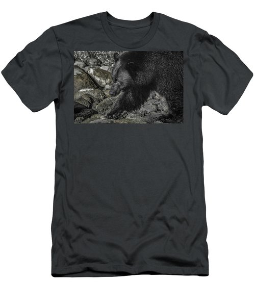 Stepping Into The Creek Black Bear Men's T-Shirt (Athletic Fit)