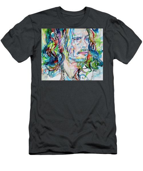 Steven Tyler - Watercolor Portrait Men's T-Shirt (Athletic Fit)