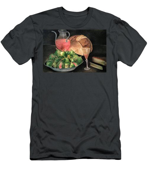 Still Life Of Figs, Wine, Bread And Books Men's T-Shirt (Athletic Fit)