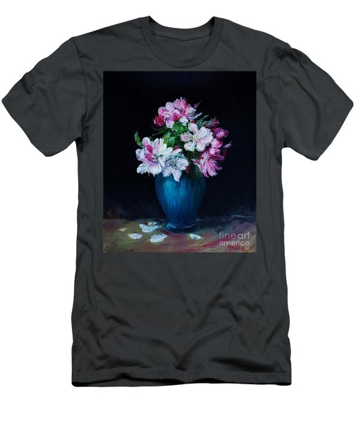 Still Life With Apple Tree Flowers In A Blue Vase Men's T-Shirt (Athletic Fit)