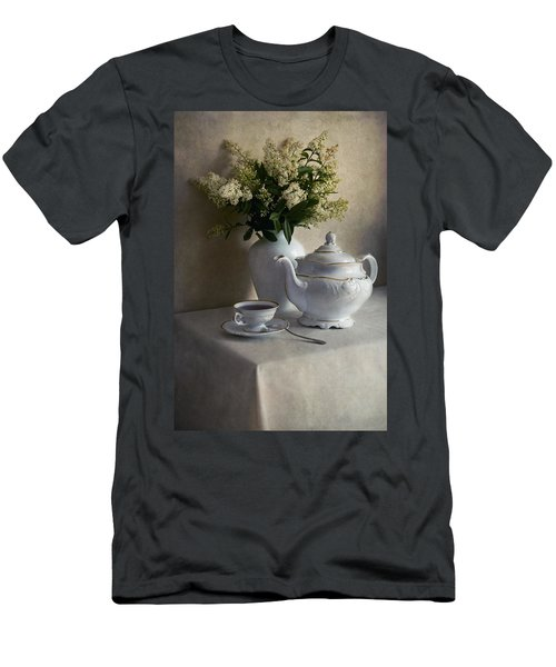 Men's T-Shirt (Athletic Fit) featuring the photograph Still Life With White Tea Set And Bouquet Of White Flowers by Jaroslaw Blaminsky