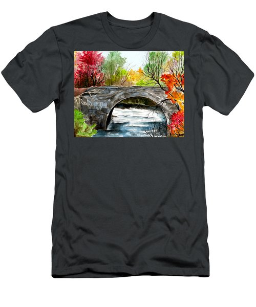 Stone Bridge In Maine  Men's T-Shirt (Athletic Fit)
