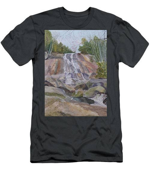 Men's T-Shirt (Athletic Fit) featuring the painting Stone Mountain Falls April 2013 by Joel Deutsch