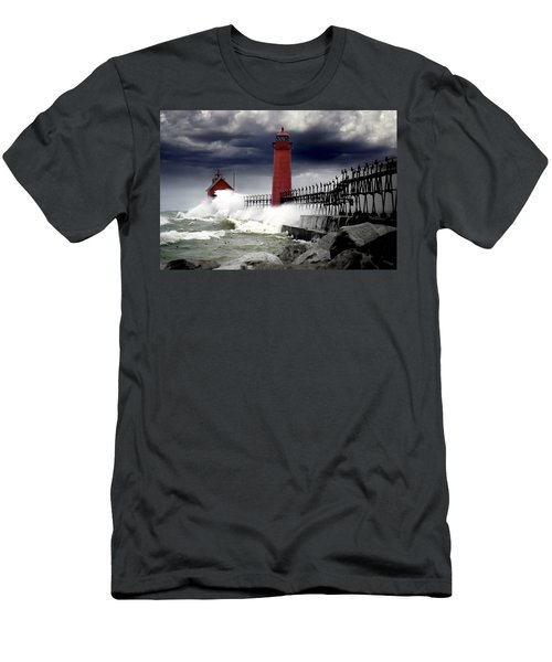 Storm At The Grand Haven Lighthouse Men's T-Shirt (Athletic Fit)