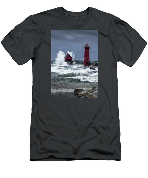 Storm On Lake Michigan By The Grand Haven Lighthouse With Flying Gulls Men's T-Shirt (Athletic Fit)