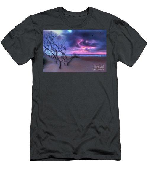 Stormy Outer Banks Sunrise And Bush Ap Men's T-Shirt (Slim Fit) by Dan Carmichael