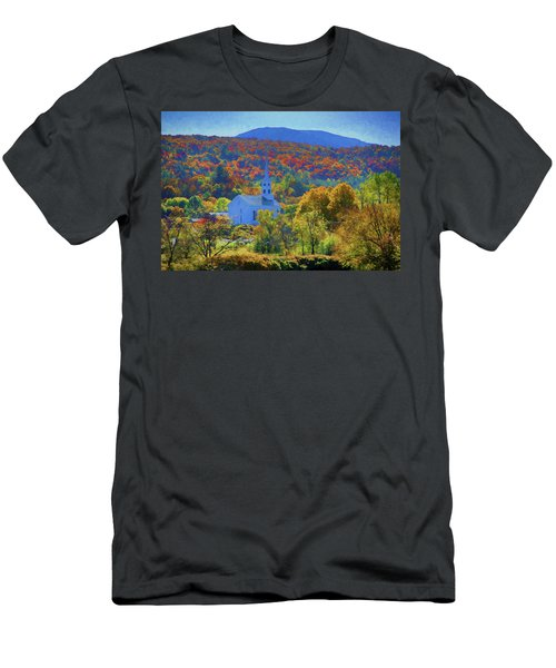 Men's T-Shirt (Athletic Fit) featuring the photograph Stowe Vermont Church In Fall by Jeff Folger