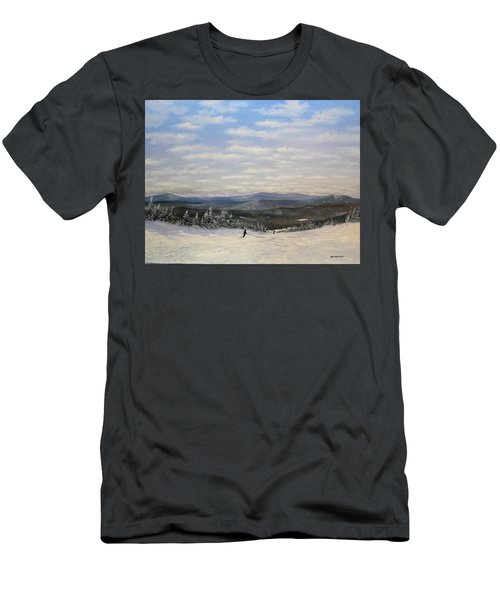 Men's T-Shirt (Slim Fit) featuring the painting Stratton Skiing by Ken Ahlering