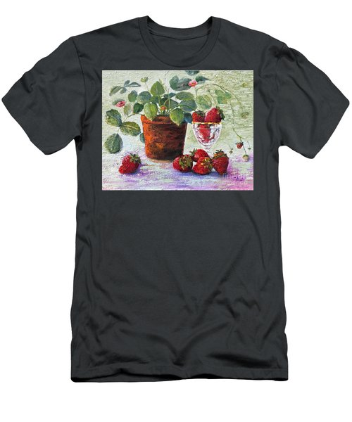 Men's T-Shirt (Athletic Fit) featuring the painting Strawberry Still Life by Marlene Book