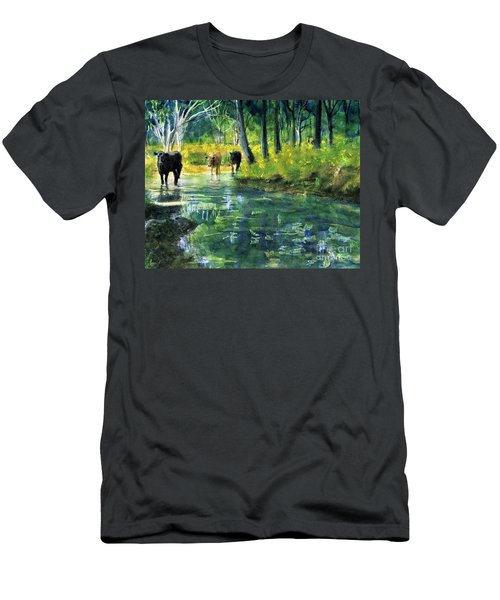 Streaming Cows Men's T-Shirt (Athletic Fit)