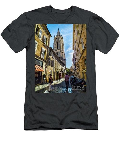 Street In Aix Men's T-Shirt (Slim Fit) by Karen Lewis