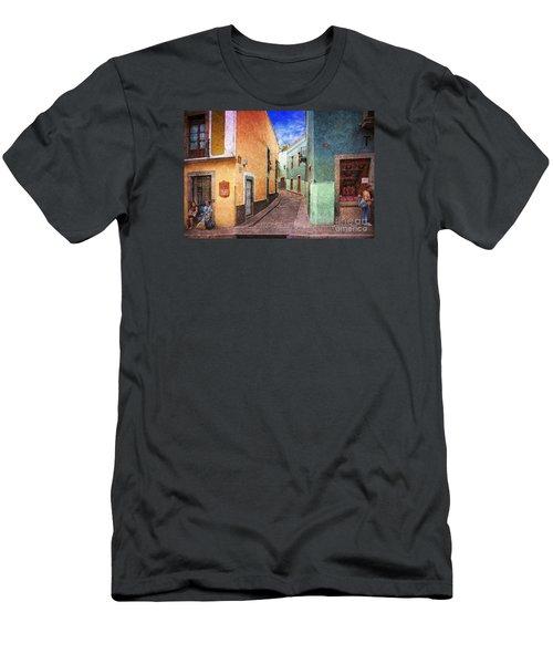 Street In Guanajuato Men's T-Shirt (Slim Fit) by John  Kolenberg