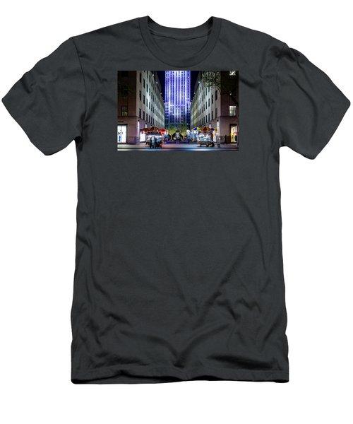 Men's T-Shirt (Slim Fit) featuring the photograph Rockefeller Center by M G Whittingham