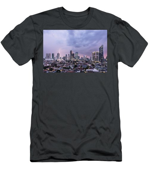 Stunning Sunset Over Jakarta, Indonesia Capital City Men's T-Shirt (Athletic Fit)