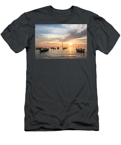 Stunning Sunset Over Wooden Boats In Koh Lanta In Thailand Men's T-Shirt (Athletic Fit)