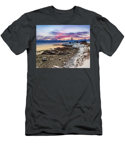 Subtle Sunrise At Portland Head Light Men's T-Shirt (Athletic Fit)