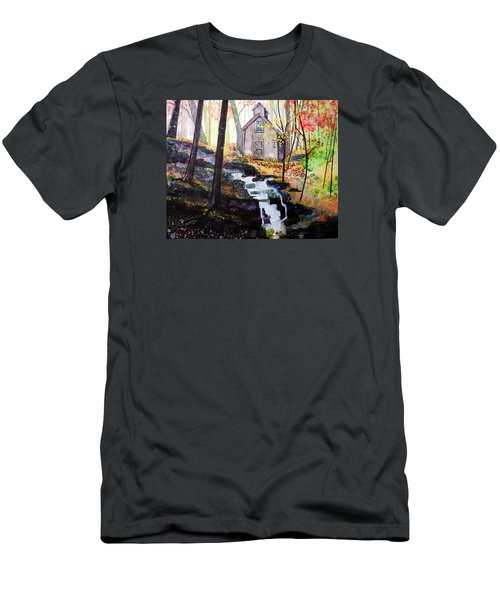 Men's T-Shirt (Slim Fit) featuring the painting Sugar Shack by Tom Riggs