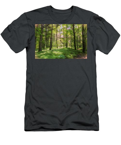 Men's T-Shirt (Athletic Fit) featuring the photograph Sun Dappled Forest by John M Bailey